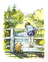 E. H. Shepard perfectly captured the quiet companionship of playing Pooh Sticks.